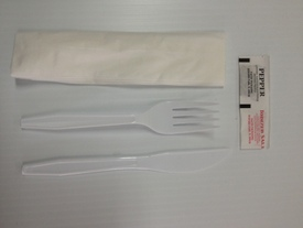 Knife Fork And Napkin With Salt and Pepper